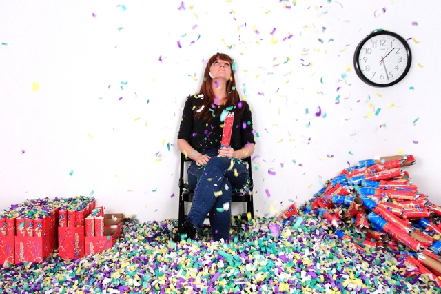 Michaela Gleave, Waiting for Time (7 Hour Confetti Work) 2014, video performance executed via YouTube, 16:9 colour stereo. Courtesy of the artist and Anna Pappas Gallery, Melbourne.